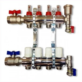 4-Way brass/nickel plated manifold including 8 x monoblocco connectors
