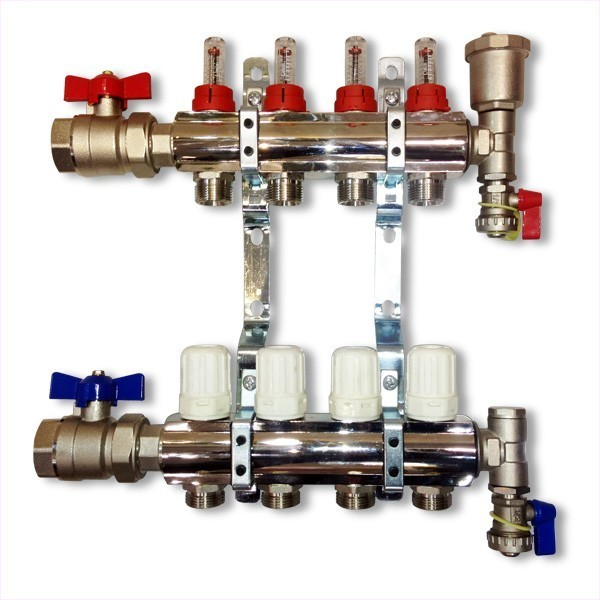 8-Waybrass/nickel plated manifold including 16 x monoblocco connectors